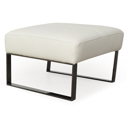 Universe Modern White Genuine Leather Ottoman