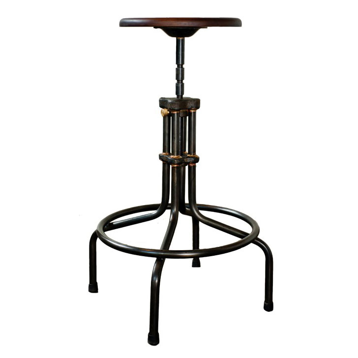 V19C Seared Oak Wood + Matte Black Steel Modern Industrial Adjustable Height Stool