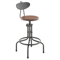 V19C-B Burnt Sepele Wood + Matte Black Steel Modern Industrial Adjustable Height Stool