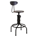 V19C-B Seared Oak Wood + Matte Black Steel Modern Industrial Adjustable Height Stool