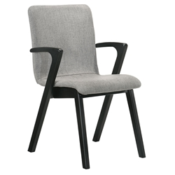 Valen Modern Grey Fabric + Black Dining Arm Chair
