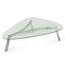 BDi Valencia Polished Stainless Steel + Tempered Glass Modern Coffee Table