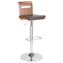 Valerie Modern Adjustable Stool in Walnut + Black