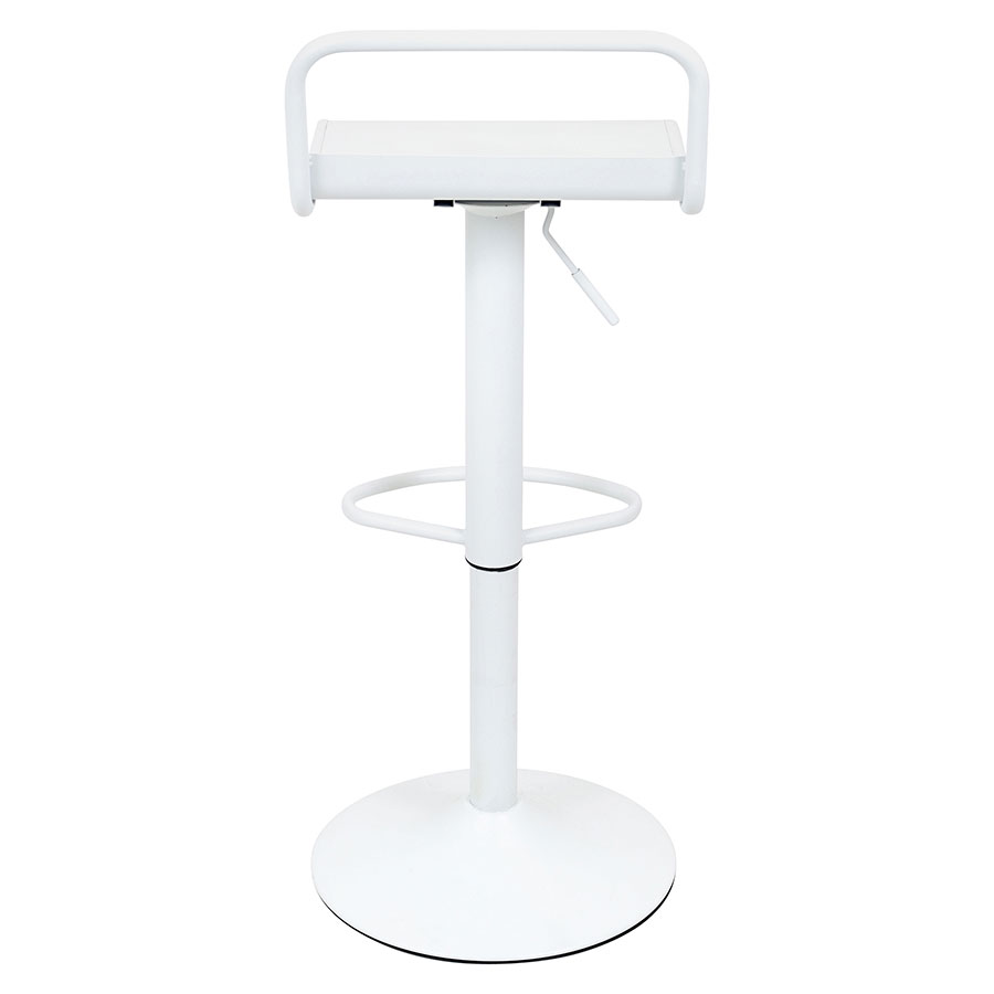 Vallejo White Metal Modern Industrial Adjustable Stool