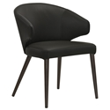 Vancouver Black Leather + Espresso Wood Mid Back Modern Dining Chair