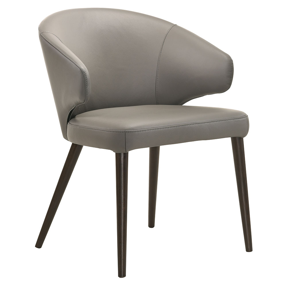 Vancouver Modern Light Gray Leather Dining Chair Eurway