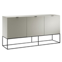 Vander High Gloss Gray + Black Metal Modern Buffet