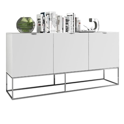 Vander High Gloss White + Stainless Steel Metal Modern Buffet