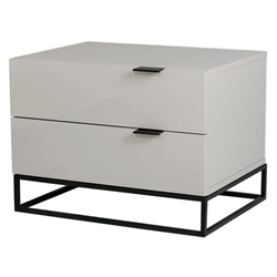 Vander High Gloss Gray + Black Metal Modern Nightstand + End Table