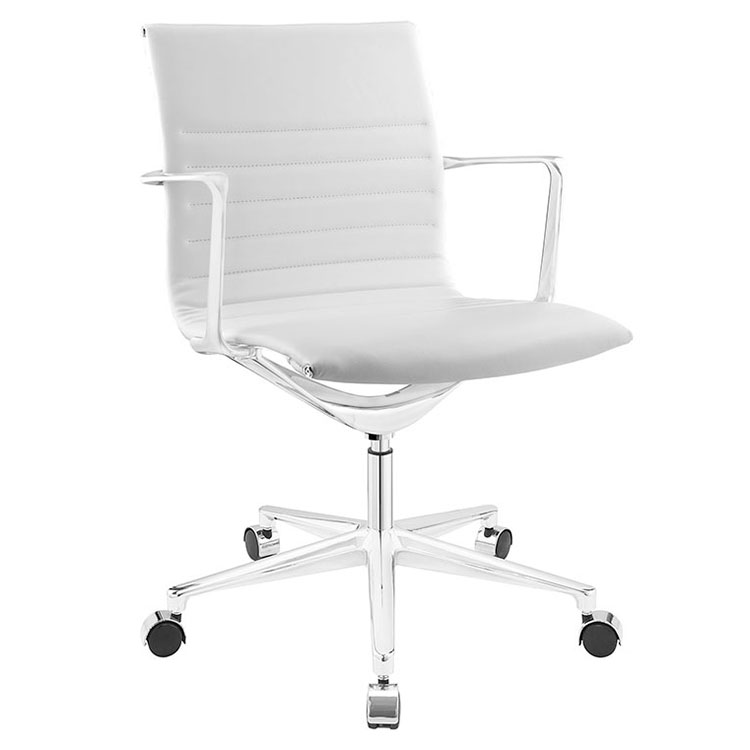 modern white office chair. Call To Order · Vanguard White Mid-Century Modern Office Chair U