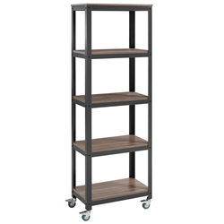 Vanguard Modern Steel + Walnut Industrial Tall Shelf