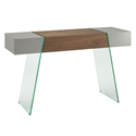 Vanquish Gray + Walnut + Glass Modern Cabana Console Table