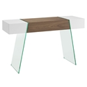Vanquish White + Walnut + Clear Glass Modern Cabana Console Table