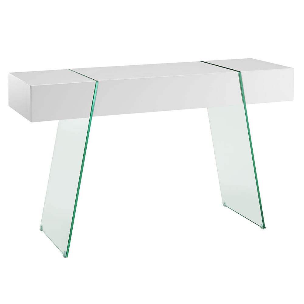 Vanquish White + Clear Modern Cabana Console Table