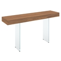 Vanquish Walnut Top + Clear Glass Base Modern Console Table