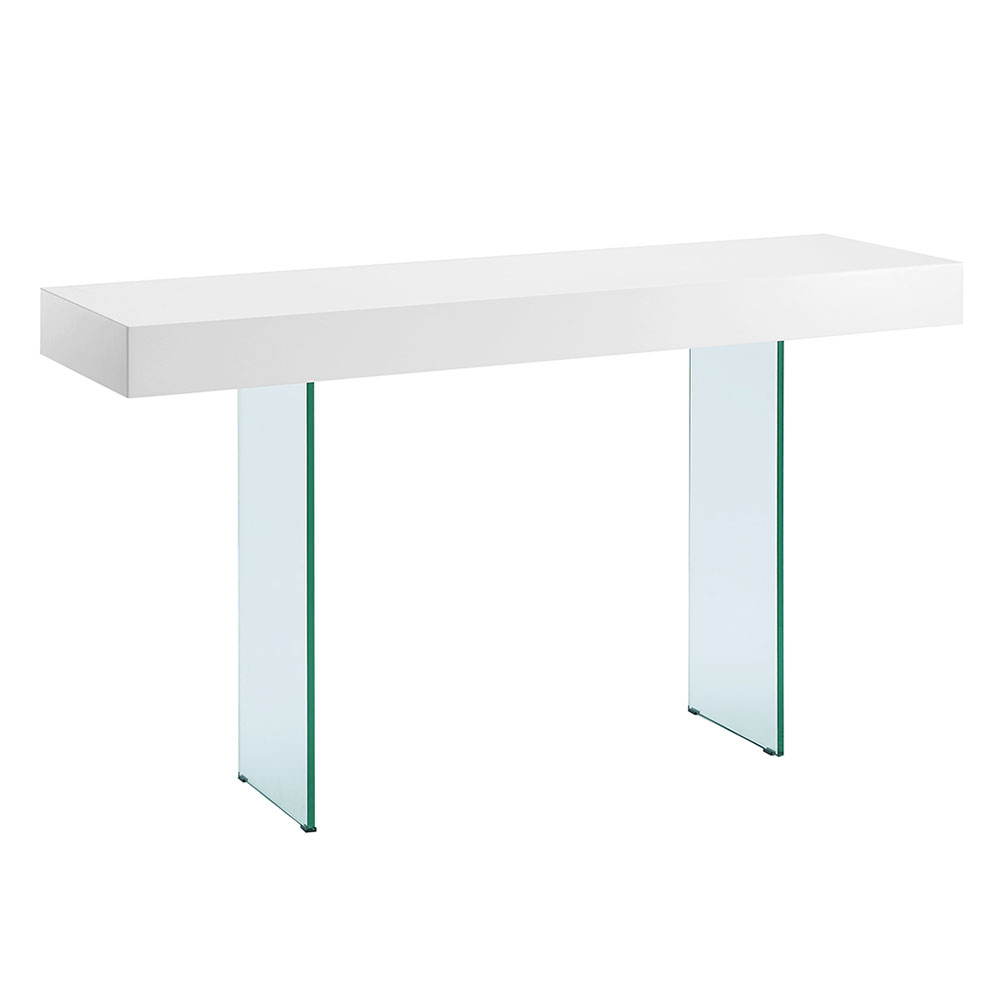 Modern white console table Canada Vanquish White Top Glass Base Modern Console Table Eurway Modern Console Tables Sofa Tables Eurway Furniture