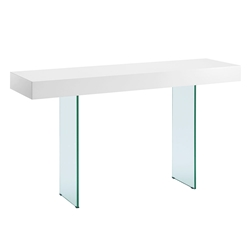 Vanquish White Top + Glass Base Modern Console Table