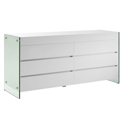Vanquish White Lacquer + Clear Glass Modern Dresser