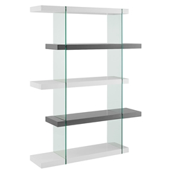 Vanquish Modern Clear Glass + White and Gray Modern Bookcase
