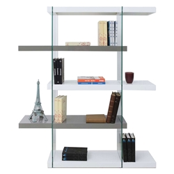 Vanquish Gray + White + Clear Glass High Modern Bookcase