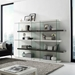 Vanquish Gray + White + Clear Glass Tall Modern Bookcase