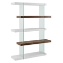 Vanquish White + Walnut + Clear Glass Tall Modern Bookcase