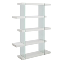 Vanquish Modern Clear Glass + White Modern Bookcase