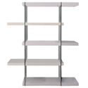 Vanquish White + Clear Glass Tall Modern Bookcase