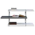 Vanquish High Gloss Gray + White + Glass Support Modern Low Bookcase