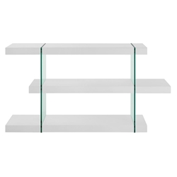 Vanquish High Gloss White + Clear Glass Low Modern Bookcase