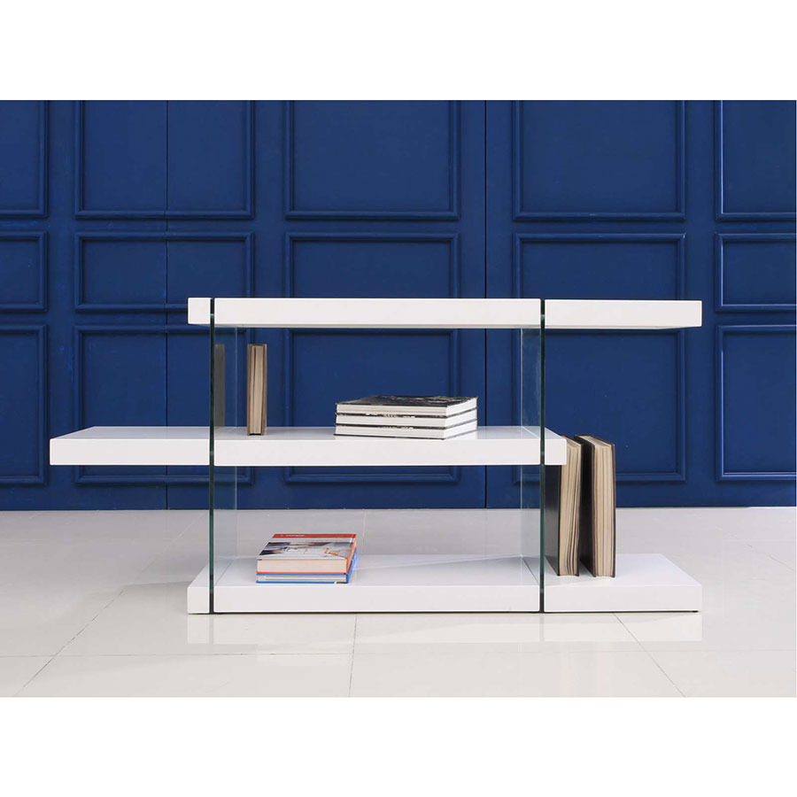 Glossy White Contemporary Clear Temper Glass Sleek Modern: Vanquish Low White Modern Bookcase