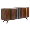 Vargas Seared Oak Vertical Grain + Black Iron Modern Sideboard + TV Stand