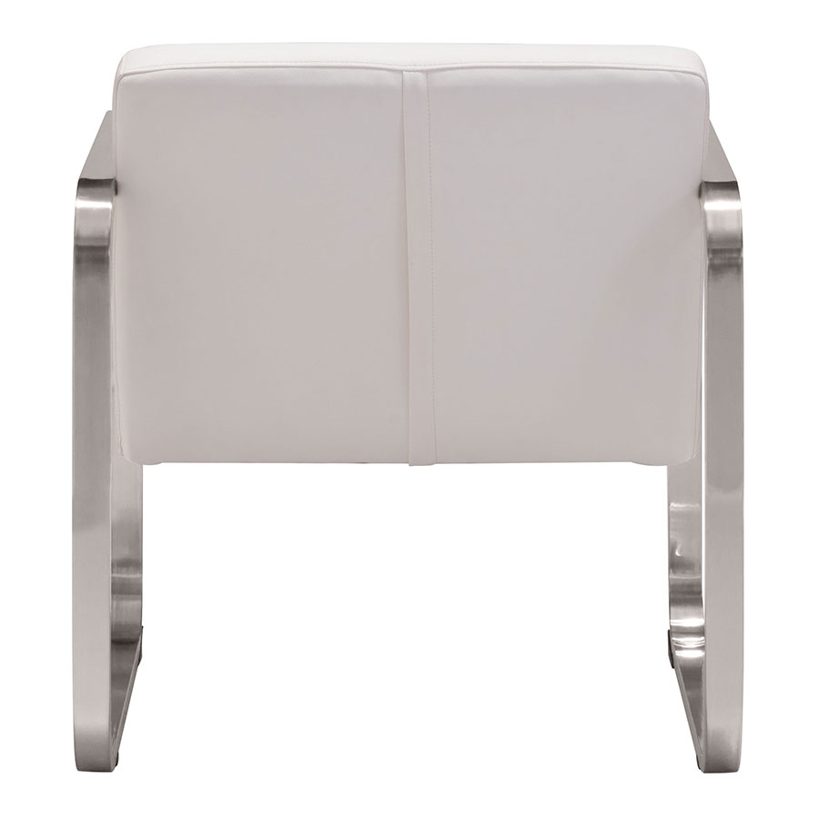 Vasco White Leatherette Contemporary Arm Chair
