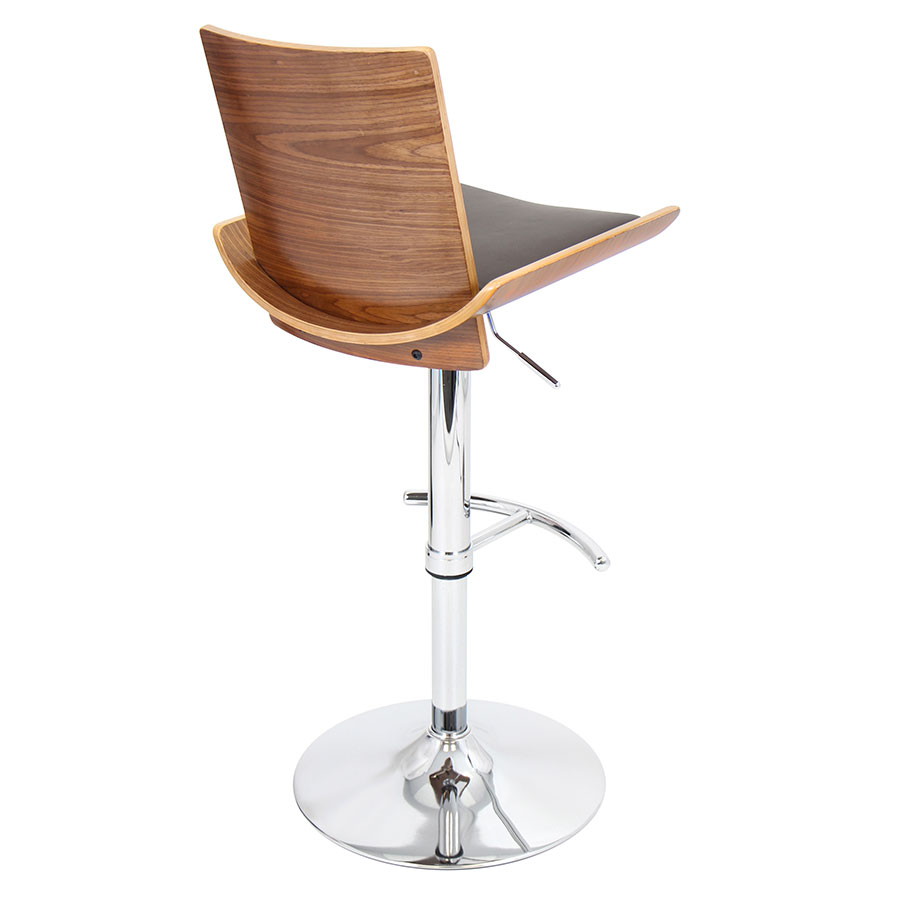 Veda Walnut + Brown Modern Adjustable Bar Stool