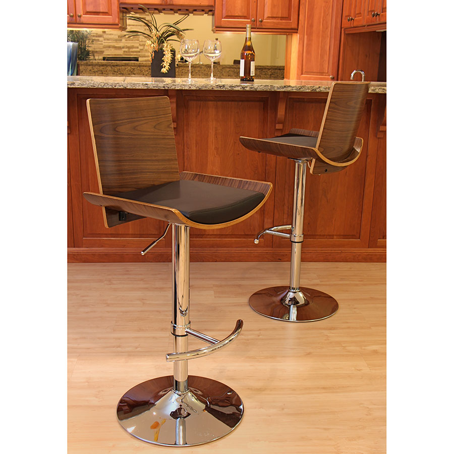 Veda Contemporary Walnut + Brown Adjustable Bar Stools