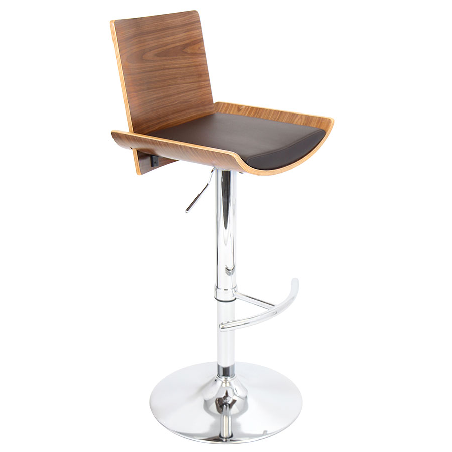 Veda Walnut Modern Adjustable Bar Stool