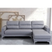 Vega Gray Leatherette + Brushed Metal Modern Reversible Sectional Sofa