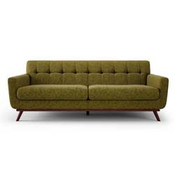Velka Green Fabric + Walnut Wood Mid Century Modern Sofa