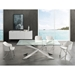 Vellmar Polished Steel + Clear Glass Rectangle Contemporary Dining Table - Room Shot