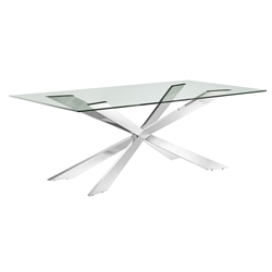 Vellmar Polished Steel + Clear Glass Rectangle Contemporary Dining Table