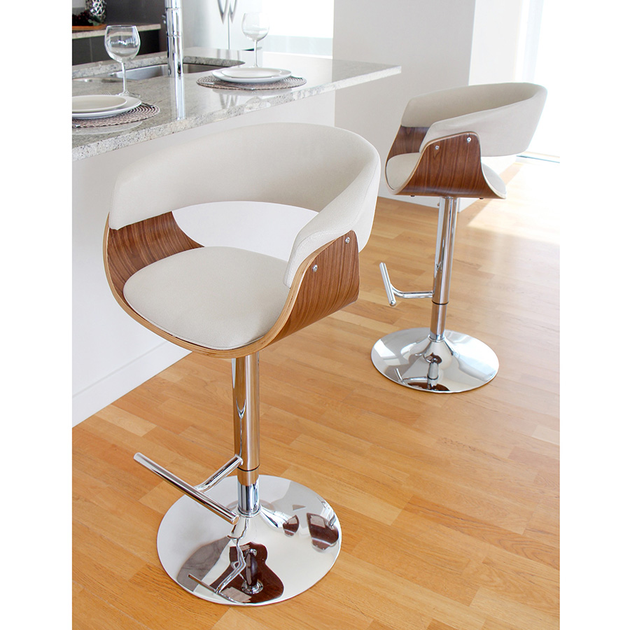 ... Venice Modern Walnut/Cream Bar Stools ...