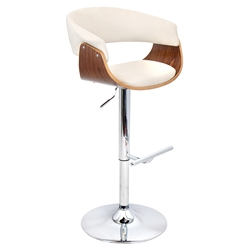 Venice Modern Walnut and Cream Adjustable Stool