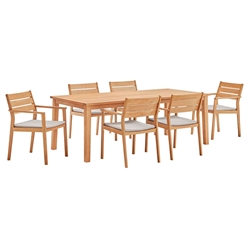 Venus Contemporary 7pc Outdoor Ash Wood Dining Set