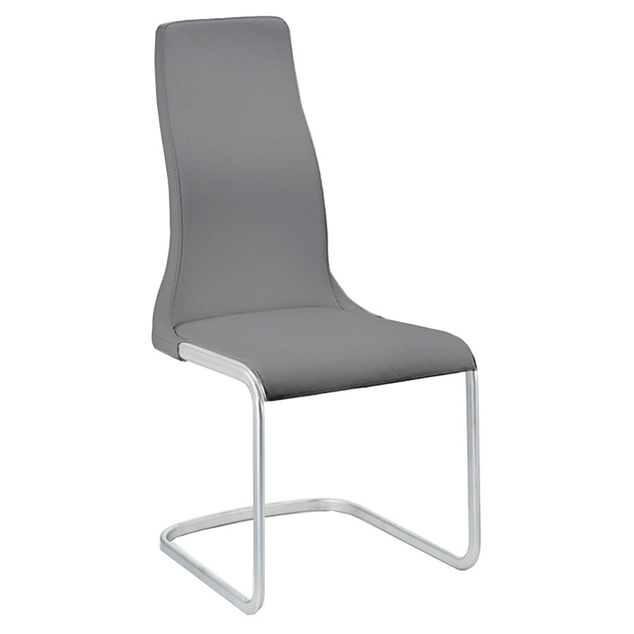Verily Gray Faux Leather + Chromed Steel Modern Dining Side Chair