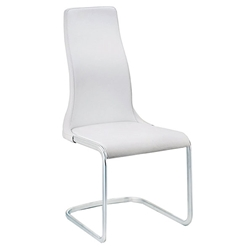 Verily White Faux Leather + Chromed Steel Modern Dining Side Chair