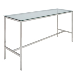 "Verona 72"" Clear Tempered Glass and Brushed Stainless Steel Base Modern Bar Table"