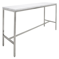 "Verona 72"" White Marble and Brushed Stainless Steel Base Modern Bar Table"
