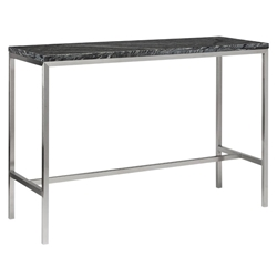 Verona Black Marble with White Wood Veining and Brushed Stainless Steel Base Modern Bar Table
