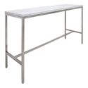 Verona White Marble and Brushed Stainless Steel Base Modern Bar Table