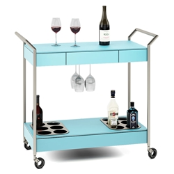 BDI Verra Modern Mobile Glass Bar Cart in Aqua